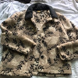 Vintage Patterned Teddy Coat